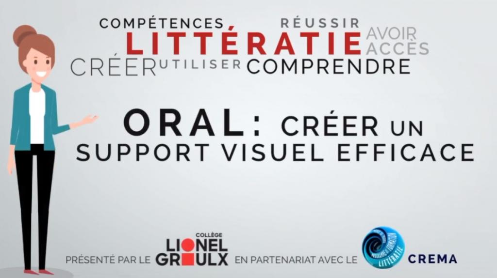 Capsule Littératie 5 : Oral Créer un support visuel efficace. CREMA et Collège Lionel Groulx. (Michel Simard et Nancy Granger)